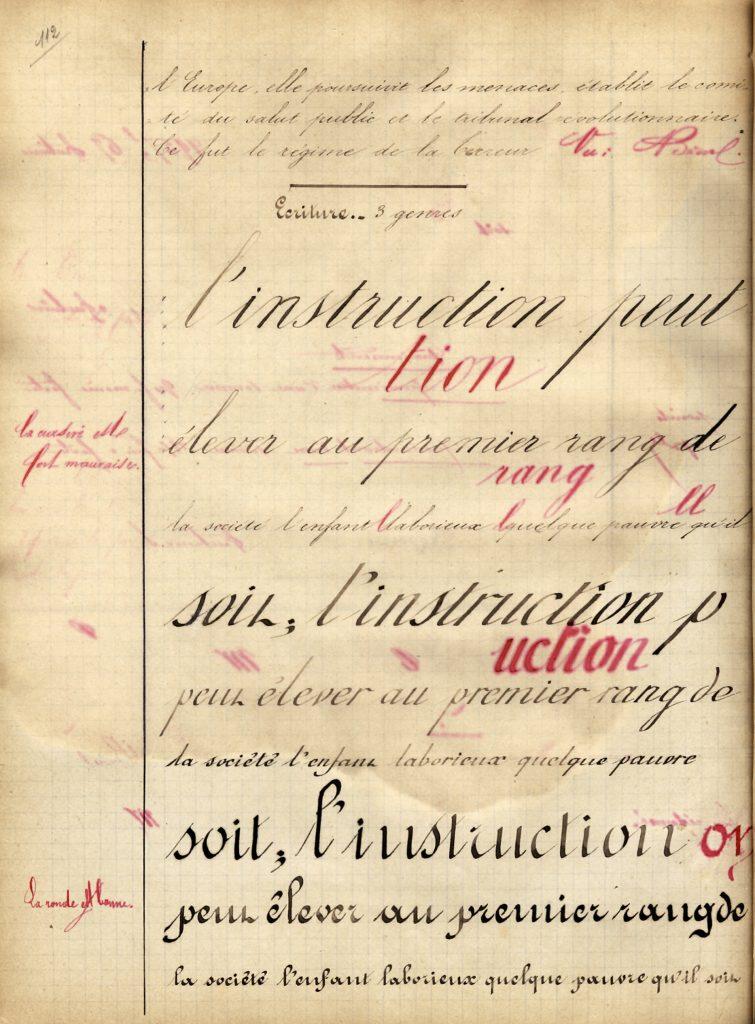 Cahier journalier de l'élève Albert Plet, corrigé par l'instituteur M. Pelcot, école Pouchet de Rouen, 1884. © Réseau Canopé/Munaé